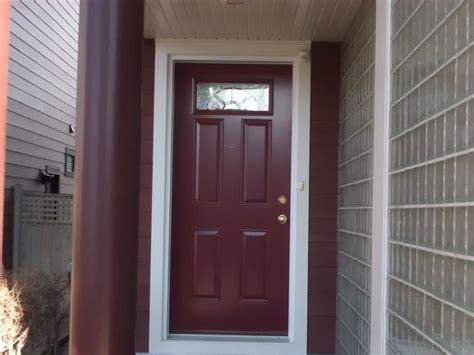 Calgary Exterior Doors Distinction Glass Insert By Novatech Burgundy Coloured Single Entry Door Doors Calgary