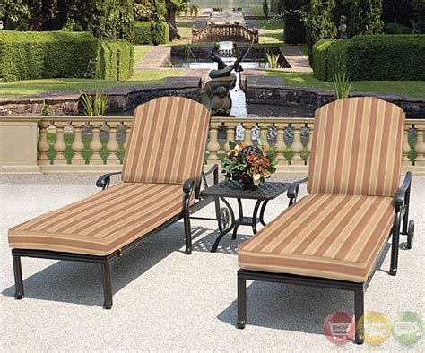 brentwood patio furniture brentwood 3pc cast aluminum outdoor patio furniture chaise lounge set sunbrella