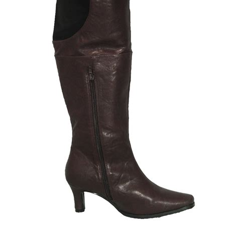 peearge lb7060 thigh high boots brown leather