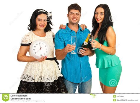 cheerful friends celebrate new year stock photos image