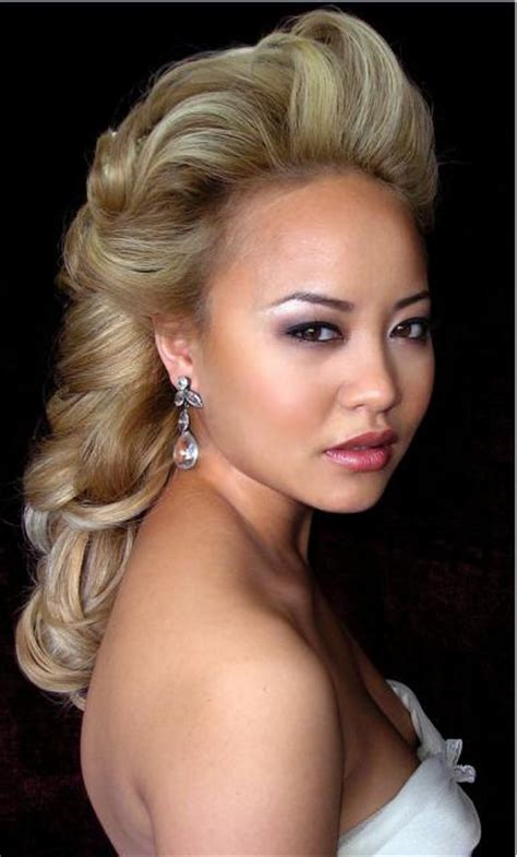 blonde asian hairstyles top knot and fringe blonde asian