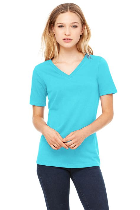 Women S | women s relaxed jersey short sleeve v neck tee bella canvas
