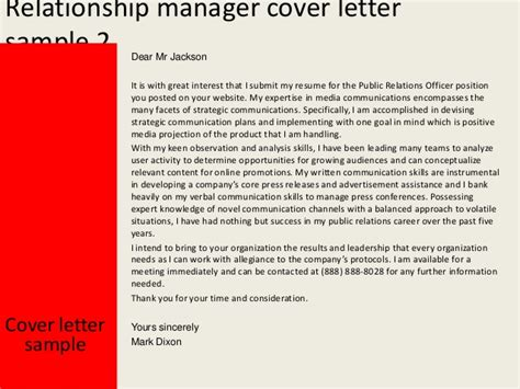 Relationship Manager Cover Letter by Relationship Manager Cover Letter