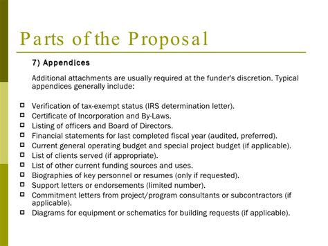 sections of a project proposal a step by step guide to writing a grant proposal