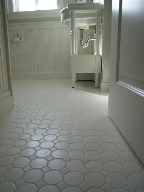 great tile bathrooms white porcelian hexagon floor tile shown installed the