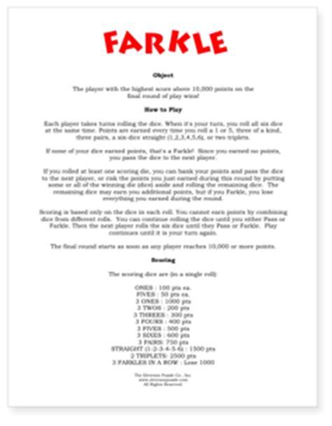 Printable Rules For Farkle Dice Game   farkle rules pdf farkle scoring how to play farkle