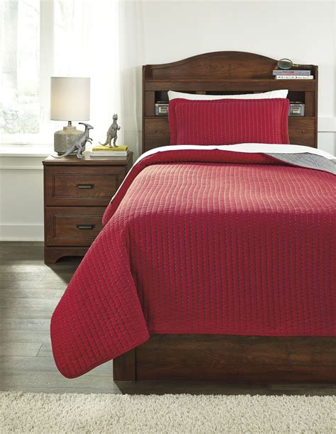 red coverlet twin dansby red and gray twin coverlet set from ashley