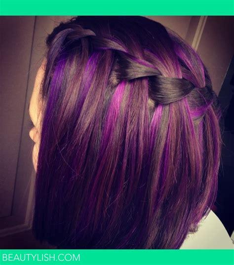 dark brown hair with purple highlights underneath 2015 purple highlights kasey m s photo beautylish