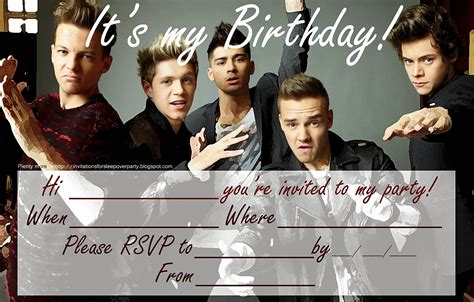 printable birthday invitations one direction invitations for sleepover party free one direction party