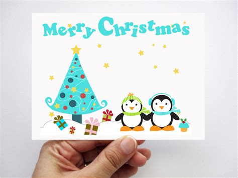 cards with children penguin cards printed cards cards merry