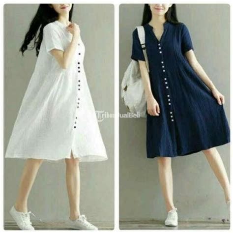 Baju Dress Wanita Navy baju wanita korea terbaru button dress navy putih murah