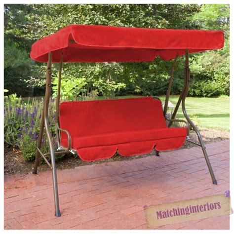 red patio swing red splashproof 3 seater garden hammock swing seat canopy