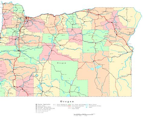 oregon road map oregon printable map