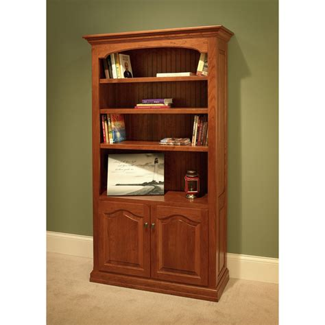 Bookcases With Doors On Bottom Traditional Bookcase With Top And Bottom Doors Amish Crafted Furniture