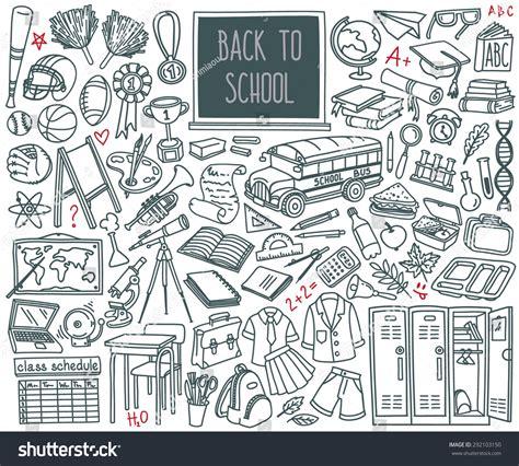 read doodle back school doodle set various school image vectorielle
