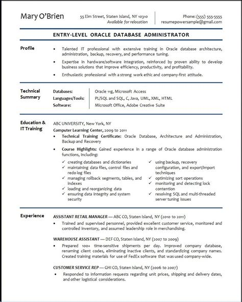 Entry Level Dba Resume Sle Oracle Dba Resume Format Exle Resume Format