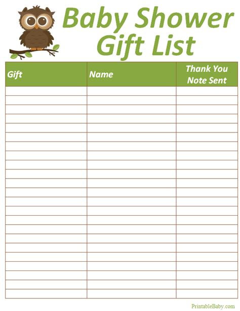buying gifts tracker sheet printable baby shower gift list tracker sheet miscellaneous baby printables baby