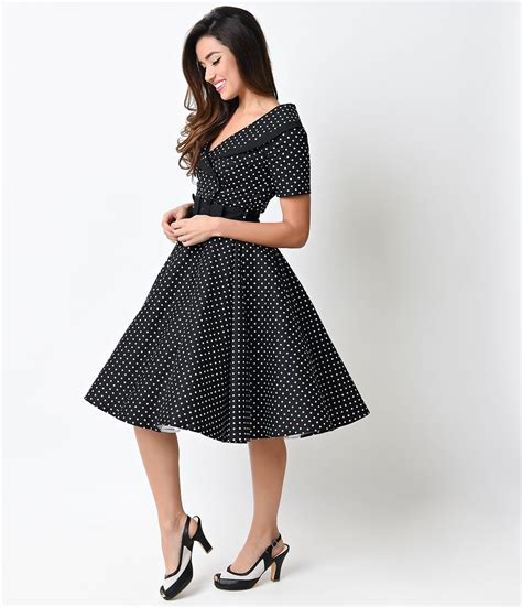 swing style 1950s style black white dot mimi swing dress pretty
