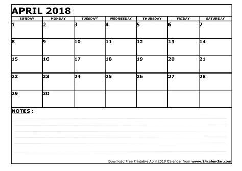 Blank Calendar 2018 Blank April 2018 Calendar In Printable Format