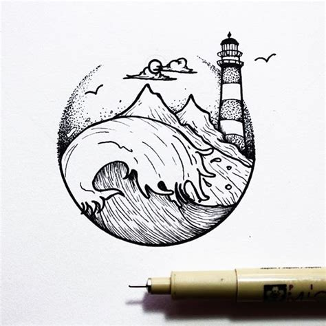 Drawing B W by 25 Best Ideas About Lighthouse Tattoos On