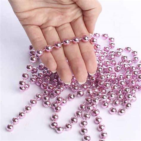 acrylic metallic pink fused bead garland pearl spools