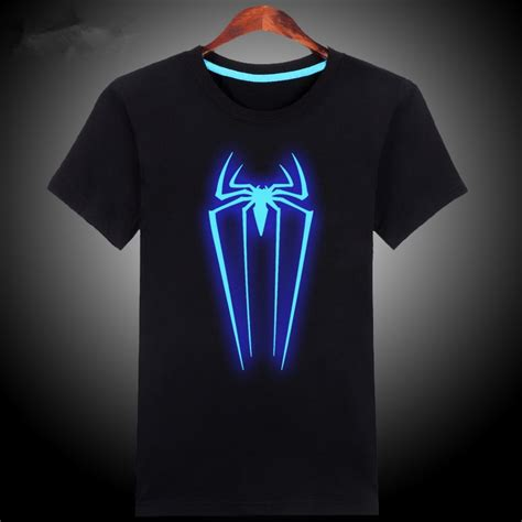 100 cotton blue green glow t shirt glow in the clothes spider t shirt summer