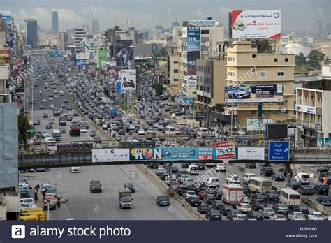 beirut lebanon shopping centre mall stock photo lebanon beirut heavy traffic on highway to tripoli view