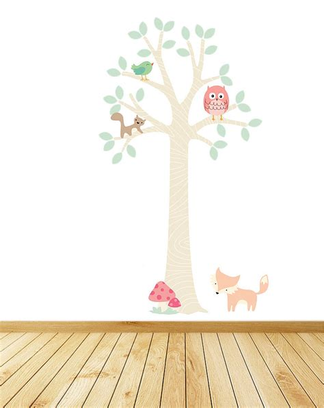 tree and owl wall stickers pastel woodland tree with owl wall stickers by parkins