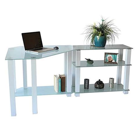 Frosted Glass Corner Desk Rta Frosted Glass Corner Computer Desk With Right Side Extension Table White Ct 01302w