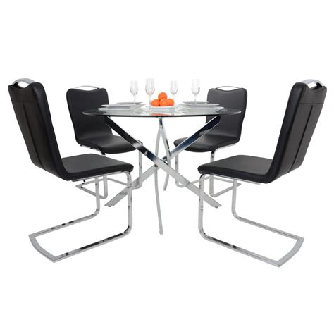 Black Glass Dining Table 4 Chairs Glass Top Dining Table Set With 4 Black Chairs