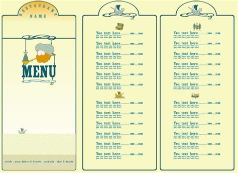 menu design elements restaurant menu list design elements free vector in
