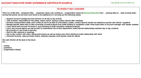 certify letter for director account executive work experience letters