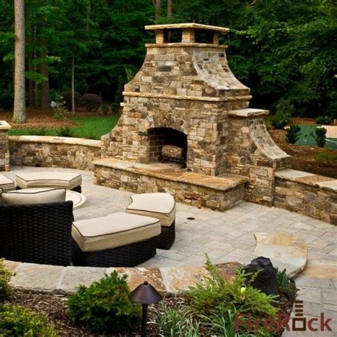 firerock outdoor fireplace rock outside