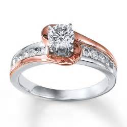 Two Tone Engagement Rings 1 Carat Unique Round Two Tone White And Rose Gold