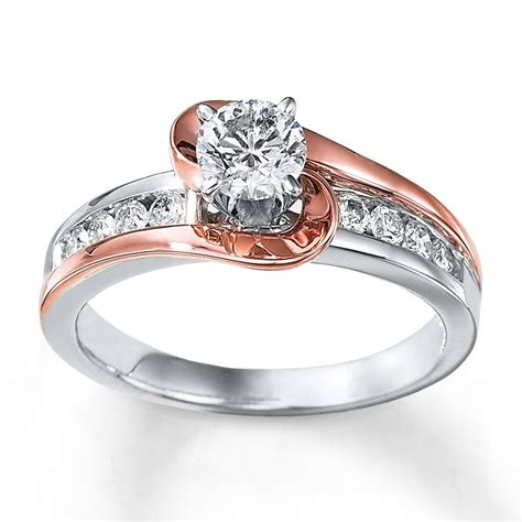 Two Tone Engagement Rings | 1 carat unique round two tone white and rose gold