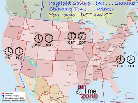 times zones in usa with the map ontimezone time zones for the usa and america