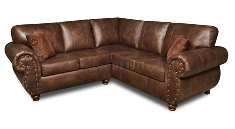 Classic Sectional Sofa Brown Smokey Leather Like Microfiber Classic Sectional Sofa