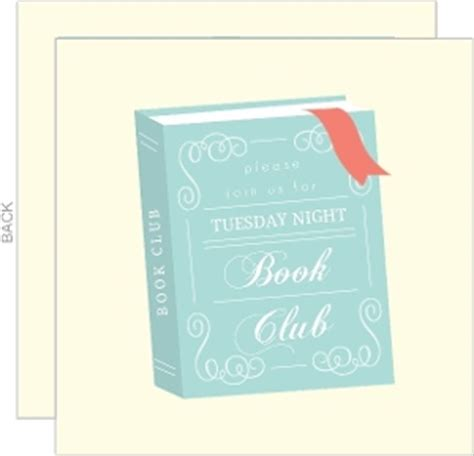 whimsical teal and coral book club invitation