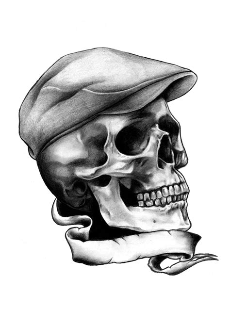 skull with hat tattoo designs skull and flat cap t shirt available at http www