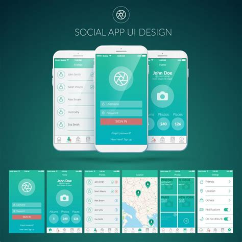 app interface template mobile social application user interface vector eps