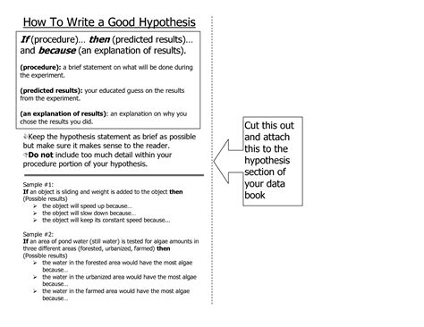 research paper hypothesis exle how to write a hypothesis statement for a research paper