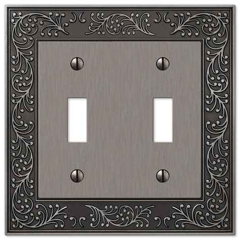 amerelle 180ttd baker unfinished alder wood 2 toggle 1 duplex wall plate garden antique nickel cast 2 toggle wallplate