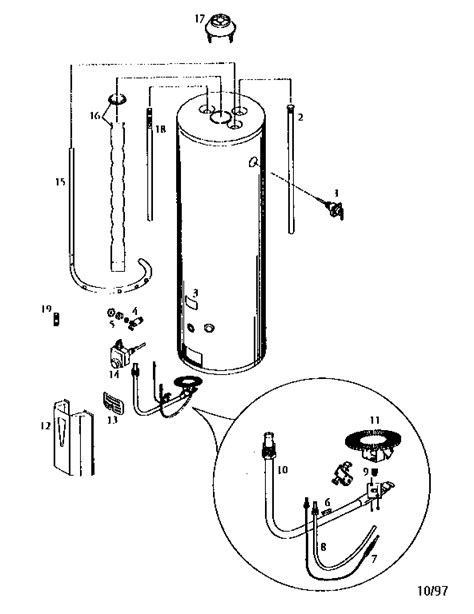 gas water heater parts diagram kenmore gas water heater 10 series parts model 153334476