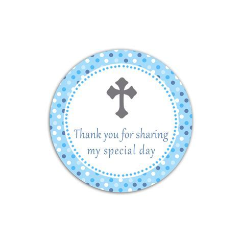 Blue Grey Cross Favor Label Tag Boy Baptism Christening Communion