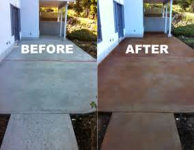 concrete patio stained deck