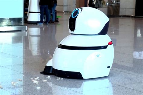 cleaning robots these lg airport robots will help keep the airport clean