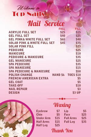 nail salon price list template best price list for nail salon photos 2017 blue maize