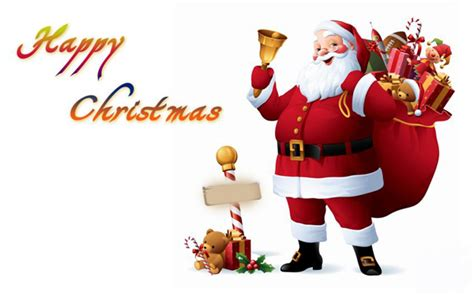 gifts from santa claus wishing happy merry christmas