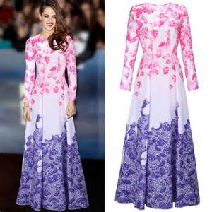 Wash Color Clothes - vintage elegant women floral printing ball gown long