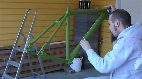 spray painting bike frame bike frame repaint pt 4 removal of decal templates